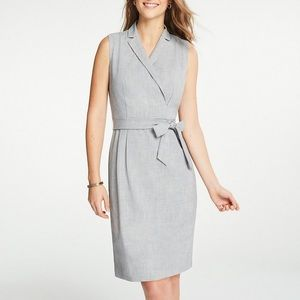 NWT Ann Taylor Grey Lapel Belted A-Line Dress